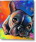 Whimsical Colorful French Bulldog  Metal Print