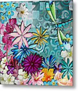 Whimsical Floral Flowers Dragonfly Art Colorful Uplifting Painting By Megan Duncanson Metal Print