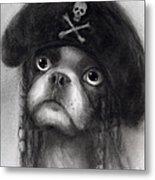 Whimsical Funny French Bulldog Pirate  Metal Print