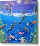 Whimsical Original Painting Undersea World Tropical Sea Life Art By Madart Metal Print