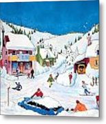 Whimsical Winter Village Metal Print