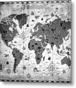 Whimsical World Map Bw Metal Print