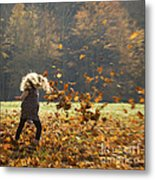 Whirling With Leaves Metal Print