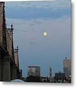 Whispy Clouds And A Moon Metal Print