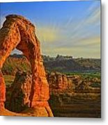 Whispy Clouds Over Delicate Arch Metal Print