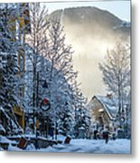 Whistler Village On A Sunny Winter Day Metal Print