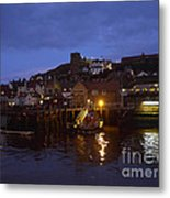 Whitby Lower Harbour And The Rnli Lifeboat Station At Night Metal Print