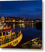 Whitby Upper Harbour At Night Metal Print