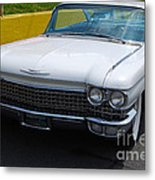 White 1960 Caddy Metal Print