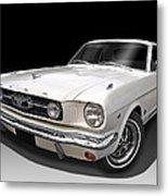 White 1966 Mustang Metal Print