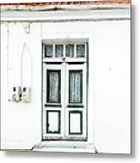White And Green Door Metal Print