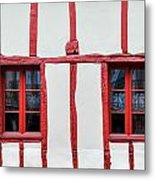 White And Red Half-timbered House Detail Metal Print