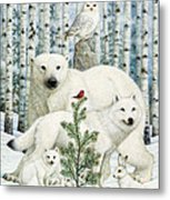 White Animals Red Bird Metal Print