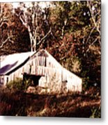 White Barn In Autumn Metal Print