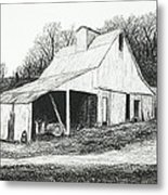 White Barn On Bluff Road Metal Print