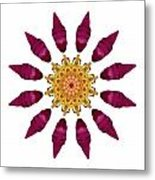 Beach Rose Iv Flower Mandala White Metal Print