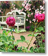 White Bench And Pink Climbing Roses In English Garden Metal Print