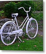 White Bicycle Metal Print