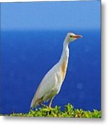 White Bird Green Plants Blue Sea And Sky Metal Print