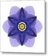 Blue Pansy I Flower Mandala White Metal Print