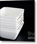 White Bowls On Black Metal Print