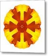 California Poppy I Flower Mandala White Metal Print