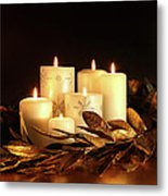 White Candles With Gold Leaf Garland  Metal Print