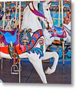White Carousel Horse Metal Print