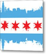 White Chicago Flag Metal Print by Mike Maher