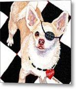 White Chihuahua - Pistachio Metal Print