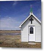 White Church Chapel  On Prairie Metal Print