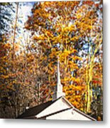 White Church In Autumn Metal Print