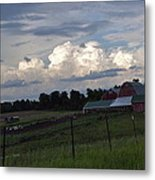 White Clouds Over The Farm Metal Print