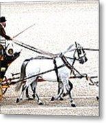 White Coach Horses Metal Print