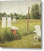 White Cotton Clothes Drying On A Wash Line  Metal Print by Sandra Cunningham