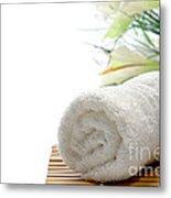 White Cotton Towel Metal Print