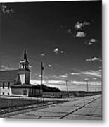 White Country Chuch And Road Metal Print