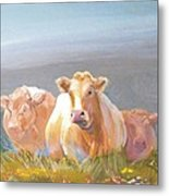 White Cows Painting Metal Print