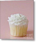 White Cupcake On Pink Metal Print