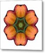 Daylily I Flower Mandala White Metal Print