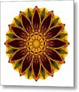 Deep Orange Marigold V Flower Mandala White Metal Print