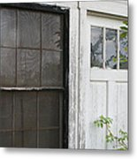 White Door Black Window Screen Metal Print by Paulette Maffucci