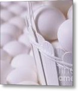 White Eggs In White Basket Metal Print