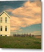White Farmhouse And Corral Metal Print