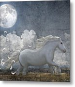 White Feathered Moon Metal Print