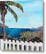 White Fence At English Harbour Antigua West Indies Metal Print