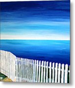 White Fence In Port Reyes National Seashore California Metal Print