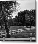 White Fence On The Wooded Green Metal Print