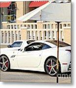 White Ferrari At The Store Metal Print