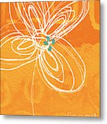 White Flower On Orange Metal Print